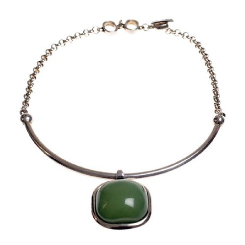 Ciclon Half Tube On Chain with Large Resin Green Stone Necklace